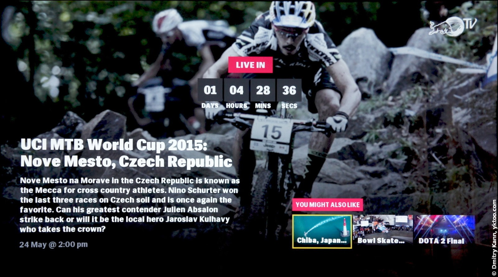 Red Bull TV: countdown for a live event.
