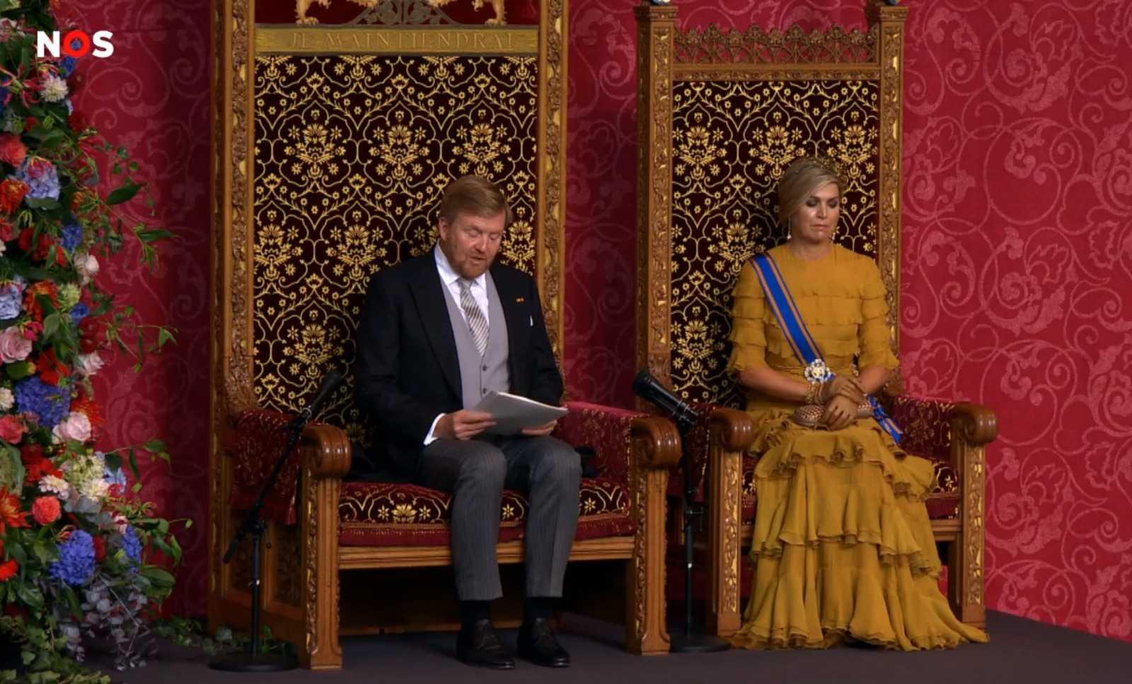 Король Нидерландов Виллем-Александр произносит тронную речь. Кадр из видео NOS.