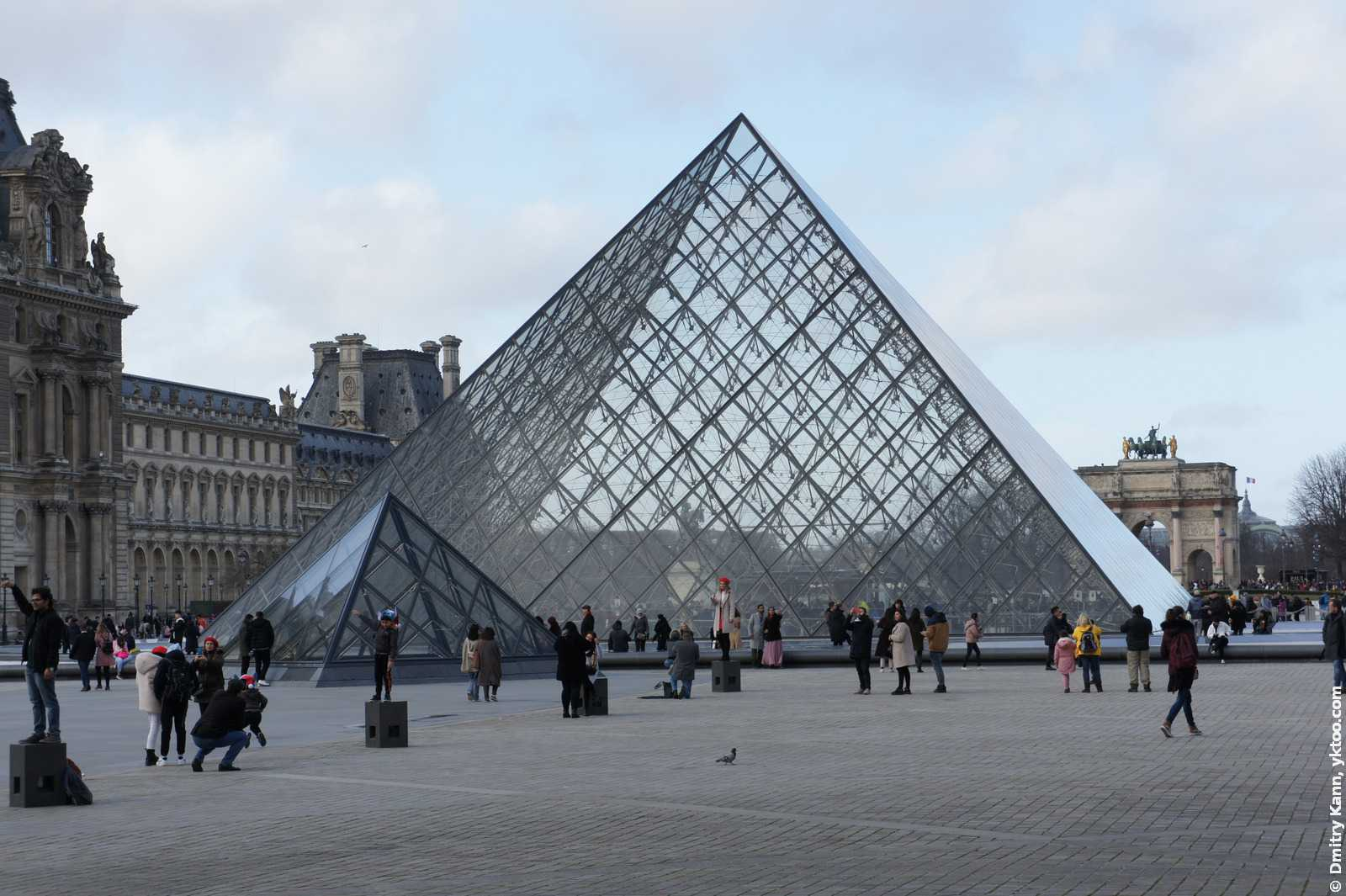 Стеклянная пирамида Лувра.