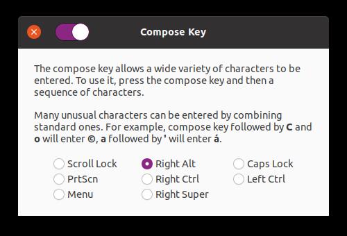 Выбор клавиши Compose в Gnome Tweaks.