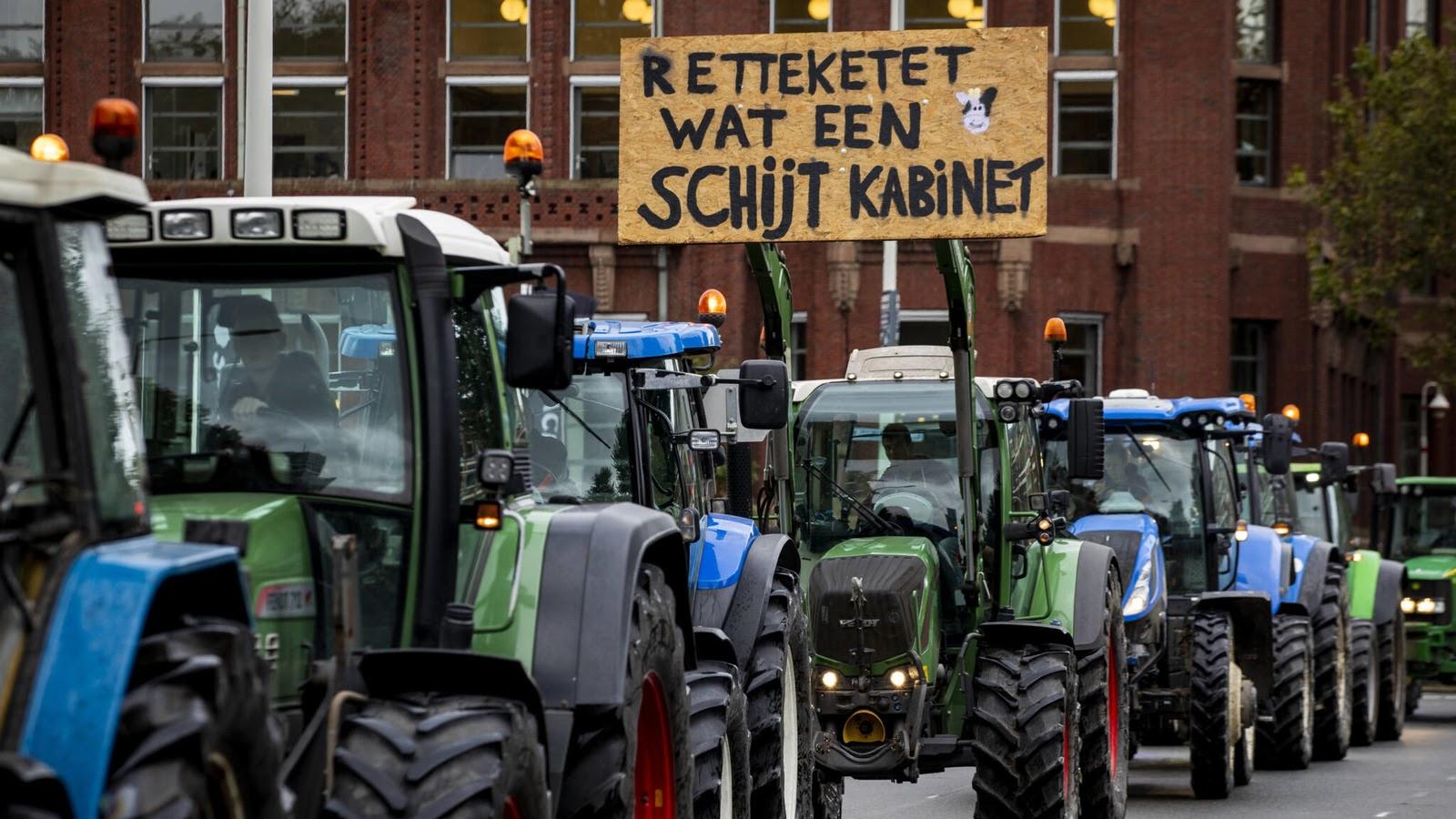 Протесты фермеров в Гааге. Фото: NOS.