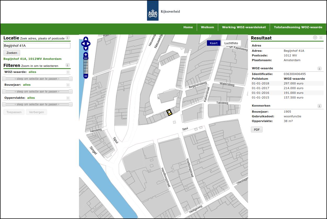 Просмотр оценки стоимости жилья через WOZ-waardeloket.