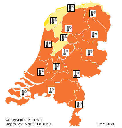 Orange alert on the map of Holland.