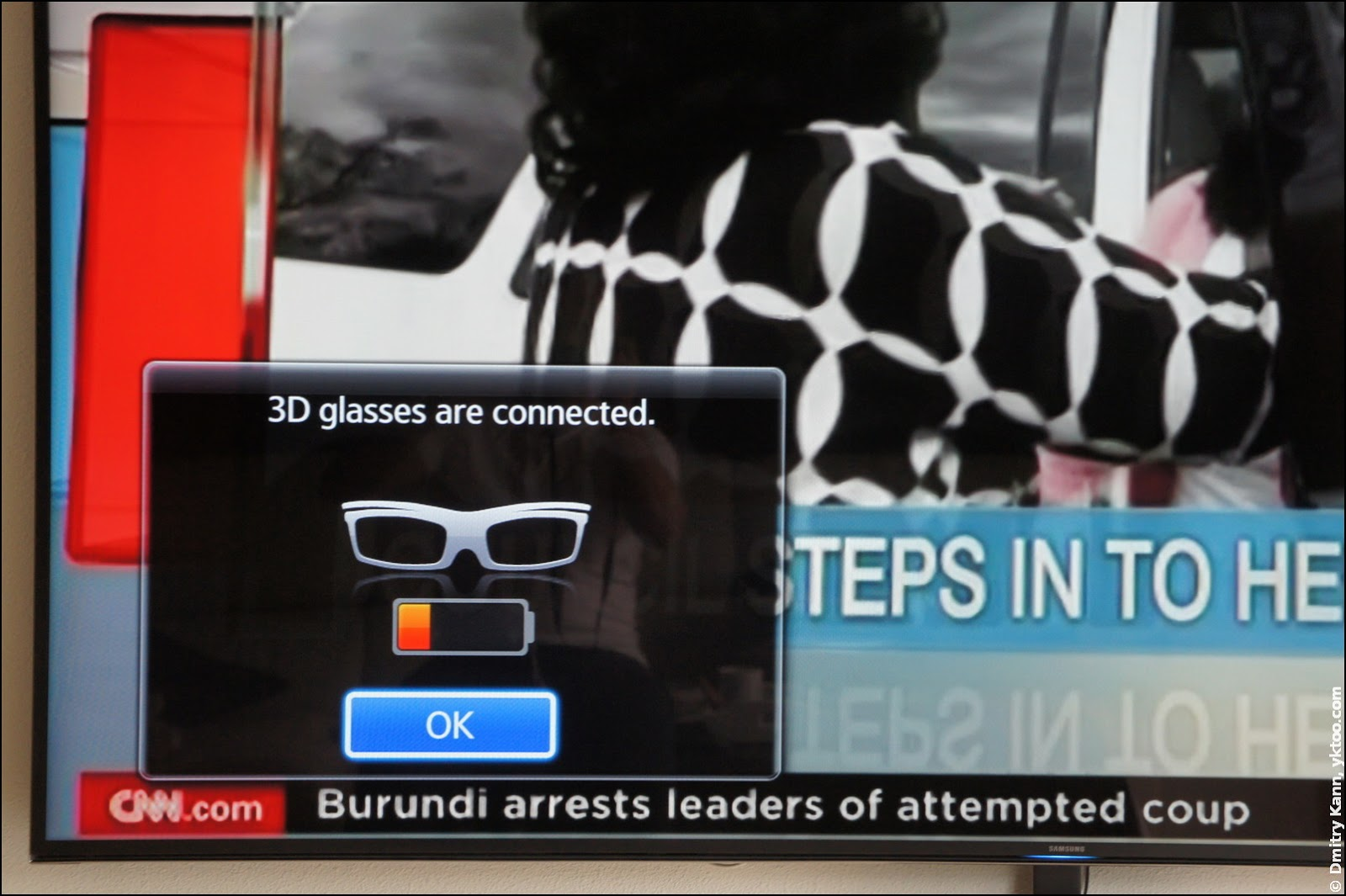 3D glasses connection notification.