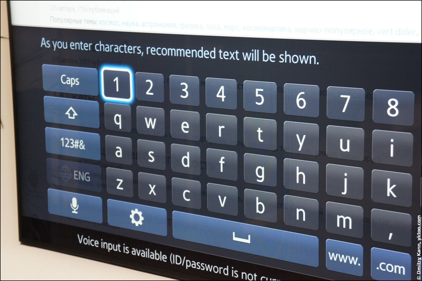 The on-screen keyboard.