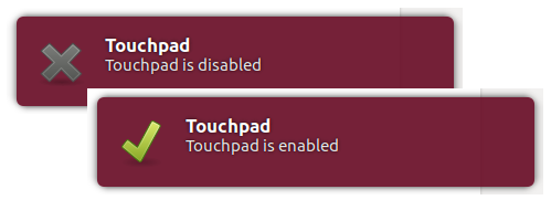 Touchpad toggle notifications.