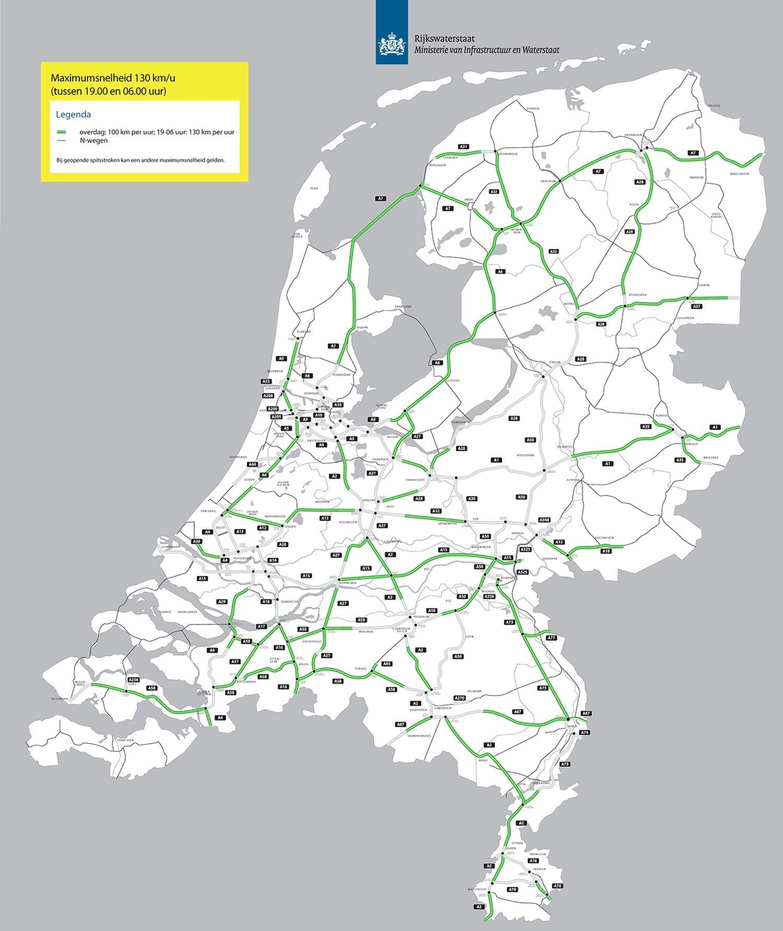 Дороги с разрешённой скоростью 130 км/ч в ночное время. Источник: Rijkswaterstaat.