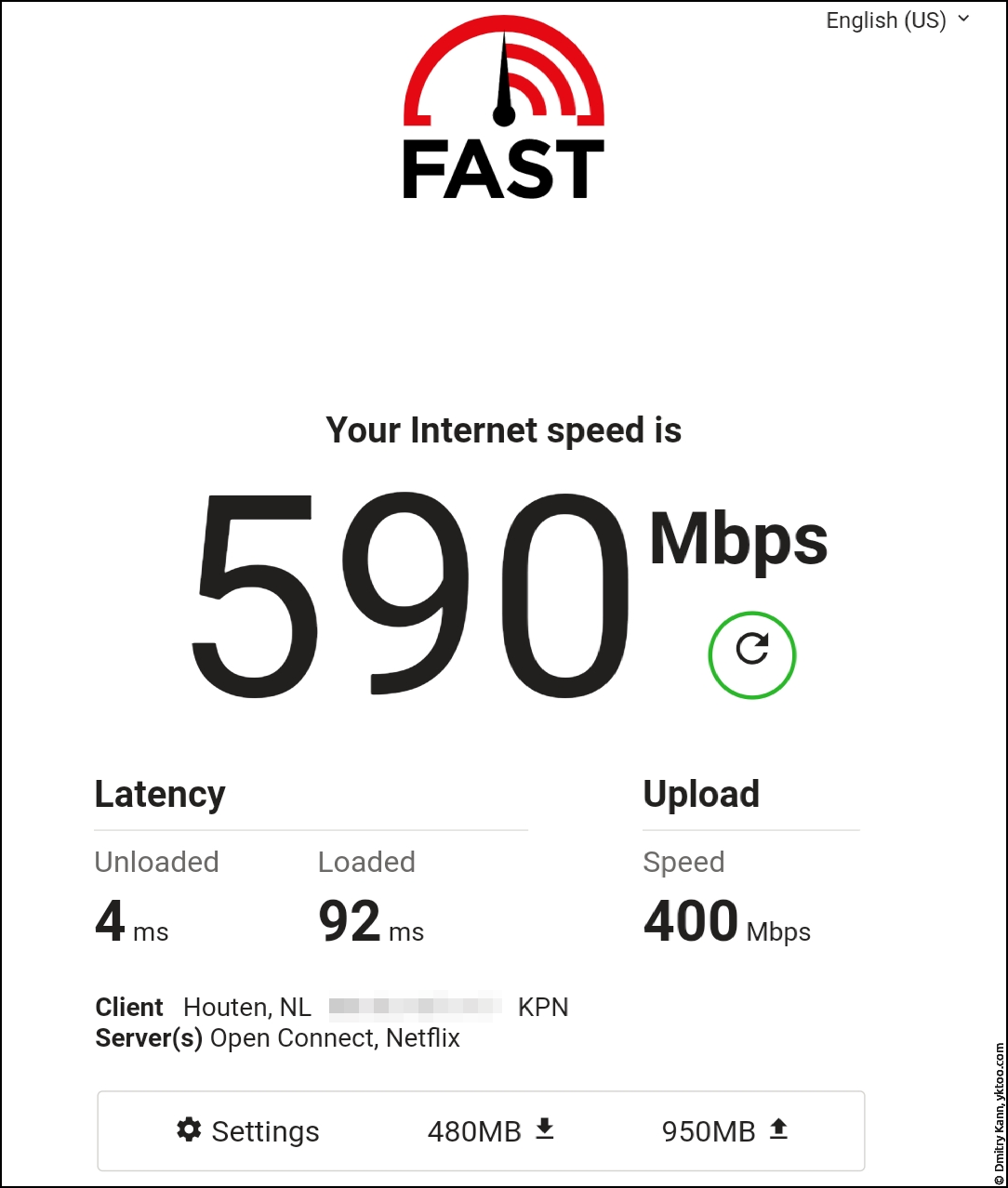 Wi-Fi speed, next to the router — fast.com.