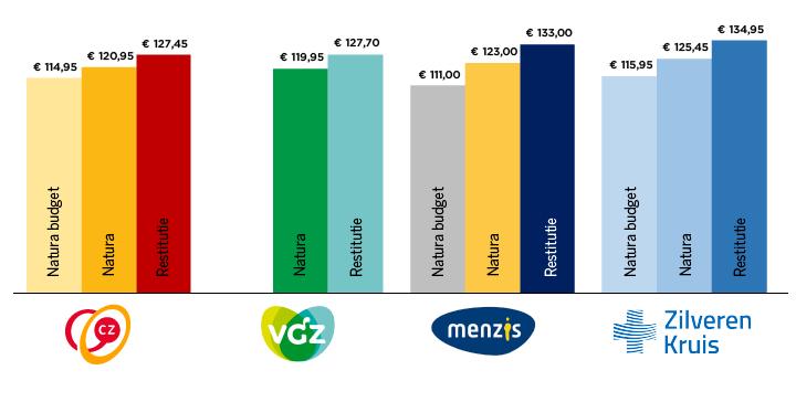 Обзор страховых полисов «большой четвёрки» на 2020 год. Источник: zorgwijzer.nl.