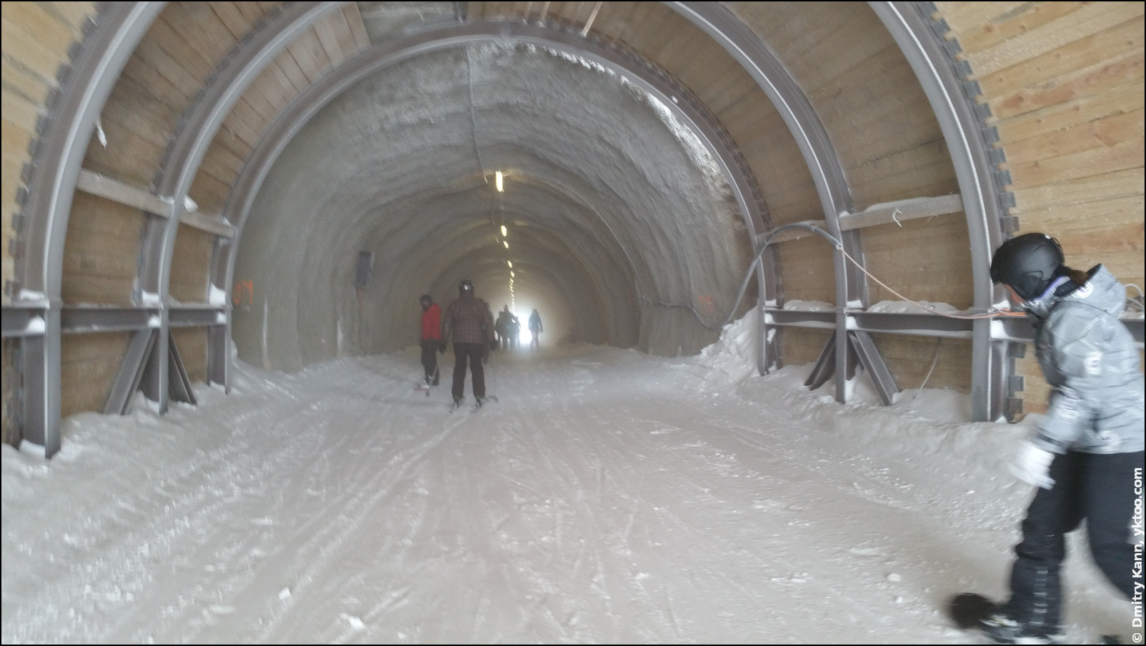 The ski tunnel on the glacier.