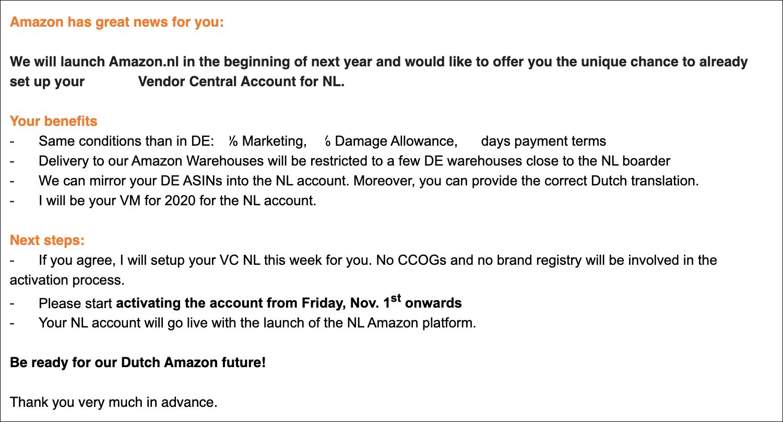 Сообщение Amazon поставщикам.