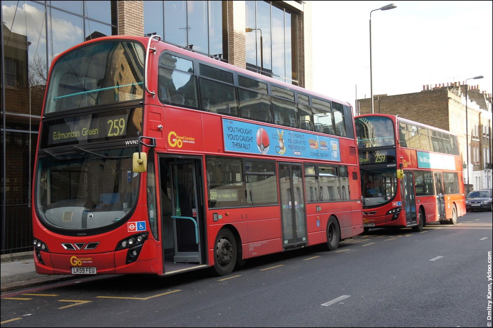 Двухэтажный лондонский автобус.