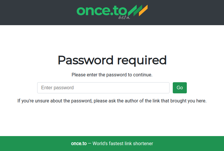 Страница ввода пароля для перехода по ссылке.