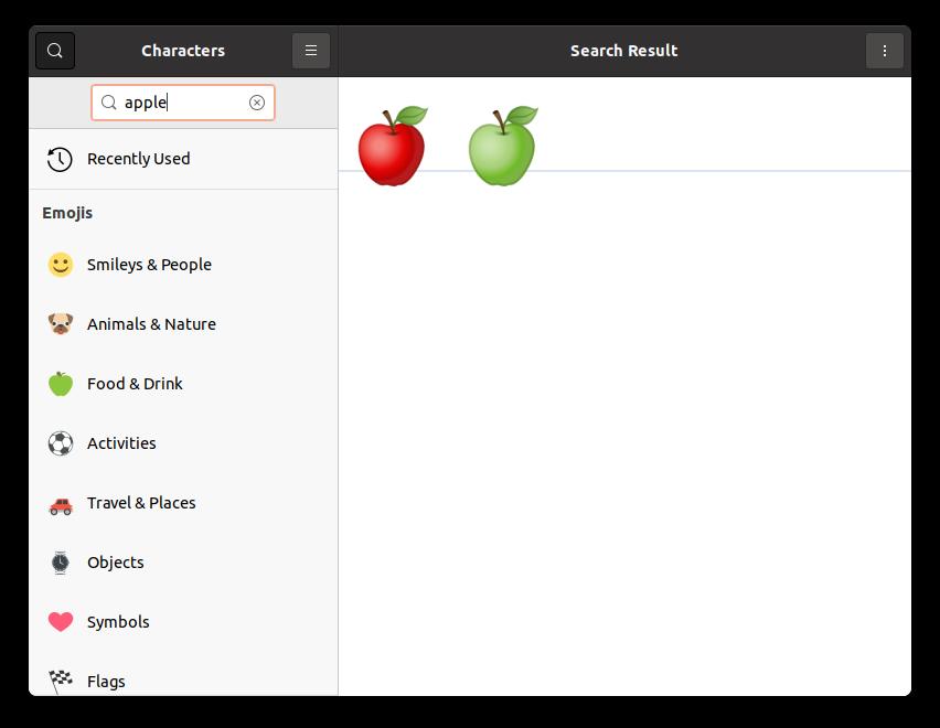 Поиск в Gnome Characters.
