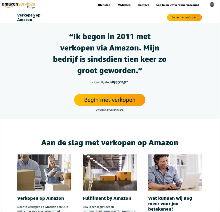 Сервисный сайт Amazon для партнёров.