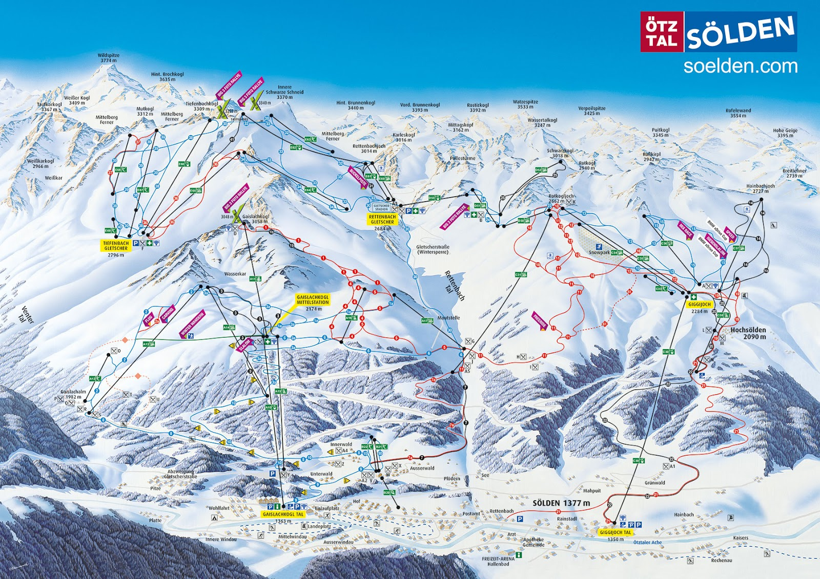 Ski map of Sölden (source: soelden.com).