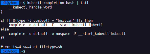How to get the kubectl completion statement for k.