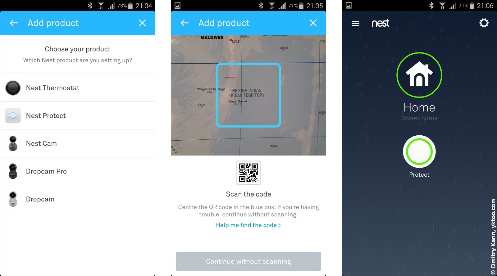 Nest App. Добавление нового устройства и главный экран.