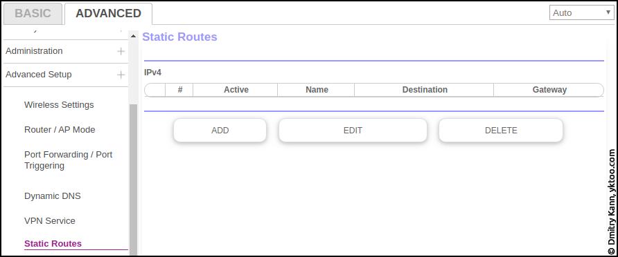 Advanced ⇒ Advanced setup ⇒ Static routes.