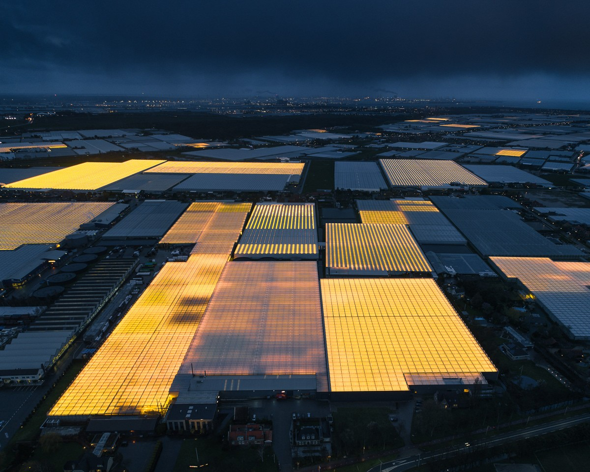 Aerial view of Dutch greenhouses. Photo: ©Tom Hegen.