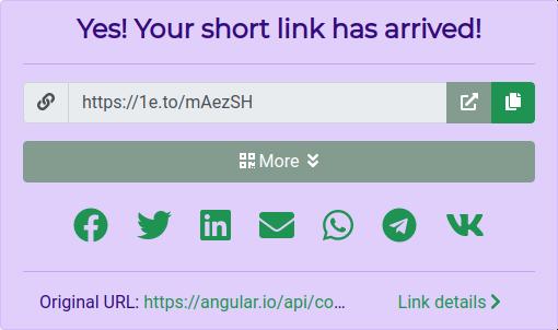 URL shortening results.