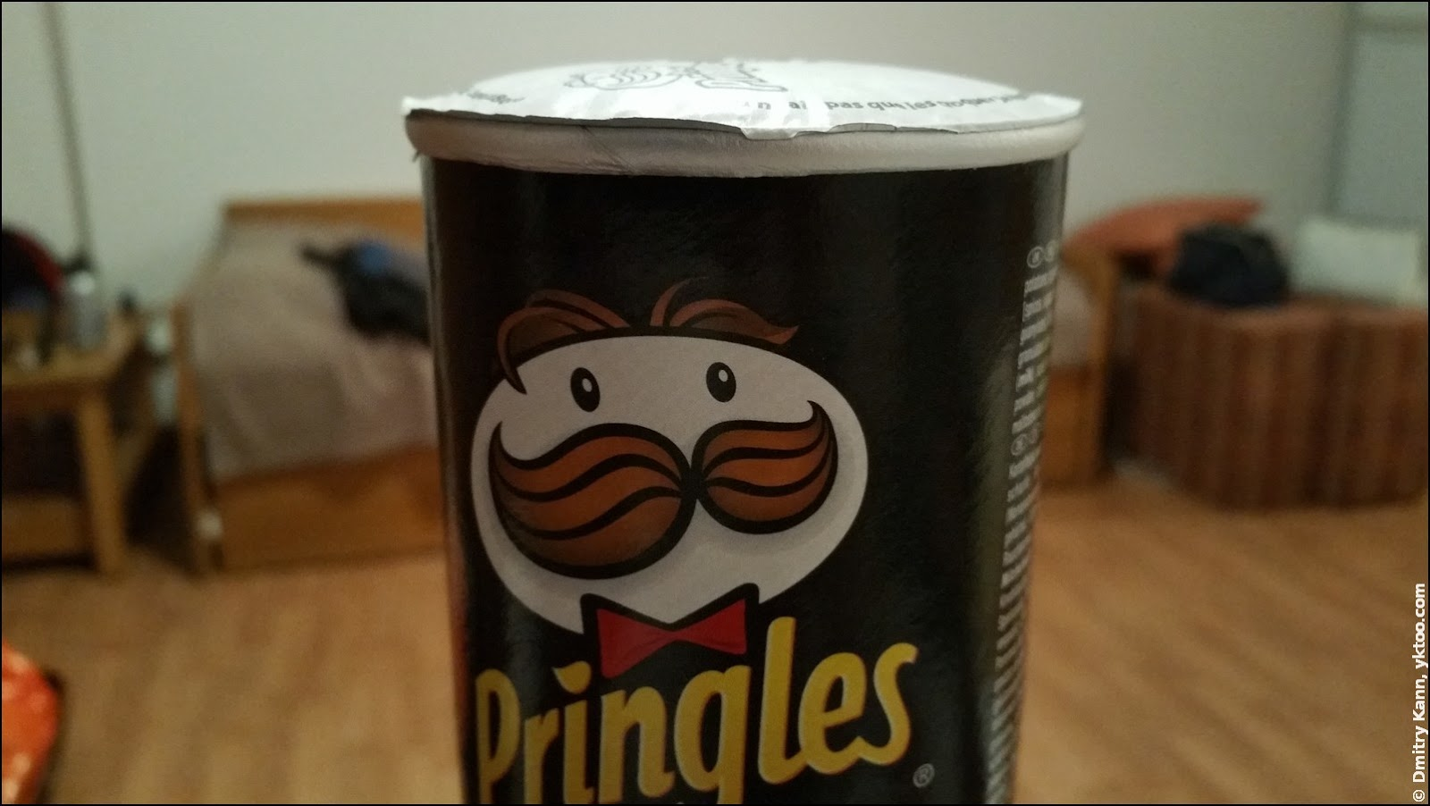 An inflated pack of Pringles.