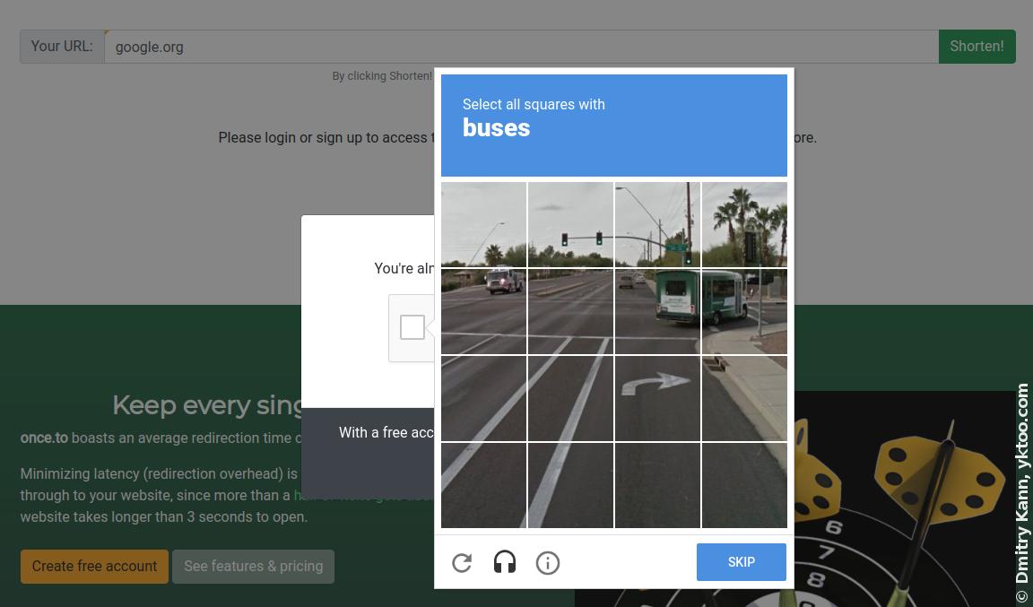 Google reCAPTCHA в действии.