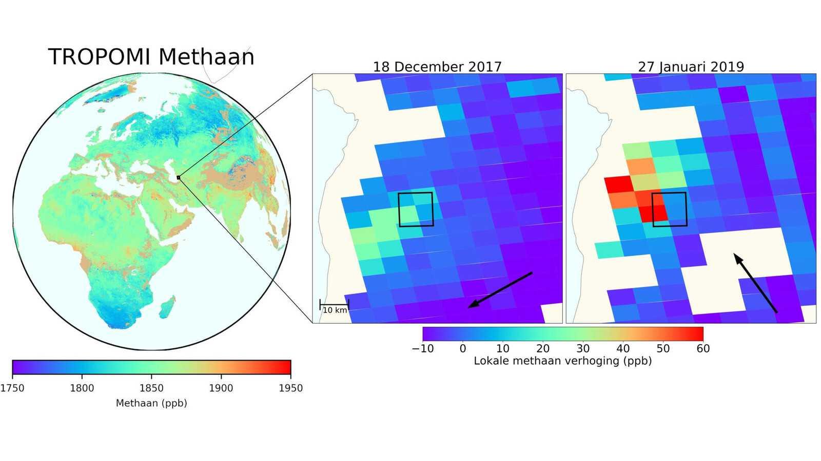 Данные измерений выброса метана, собранные TROPOMI. Изображение: SRON.