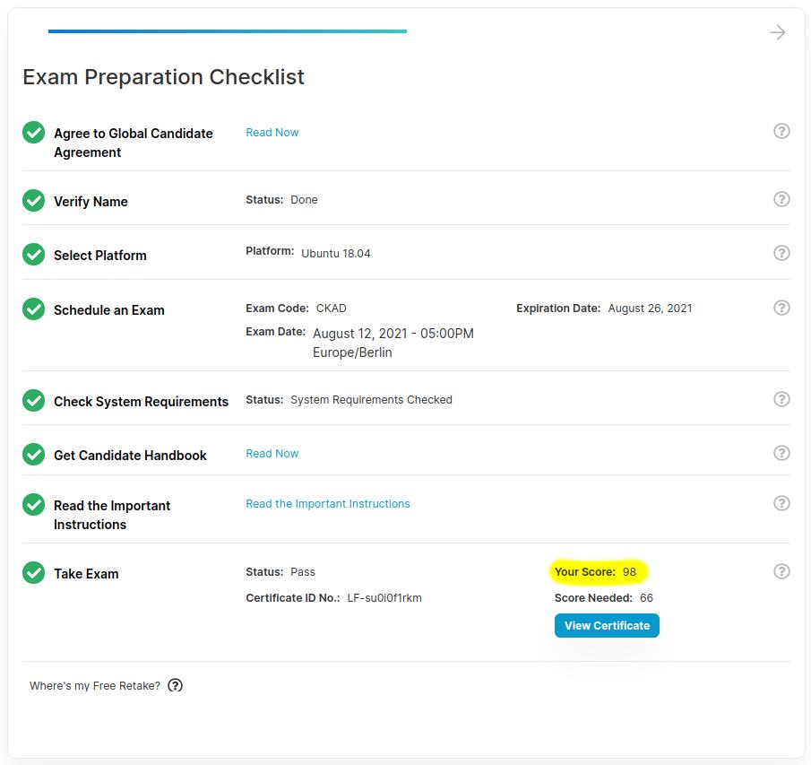 My CKAD certification score.