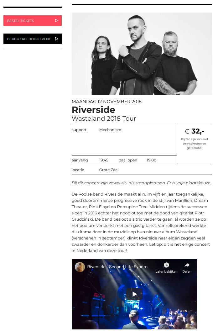 The page of Riverside show.