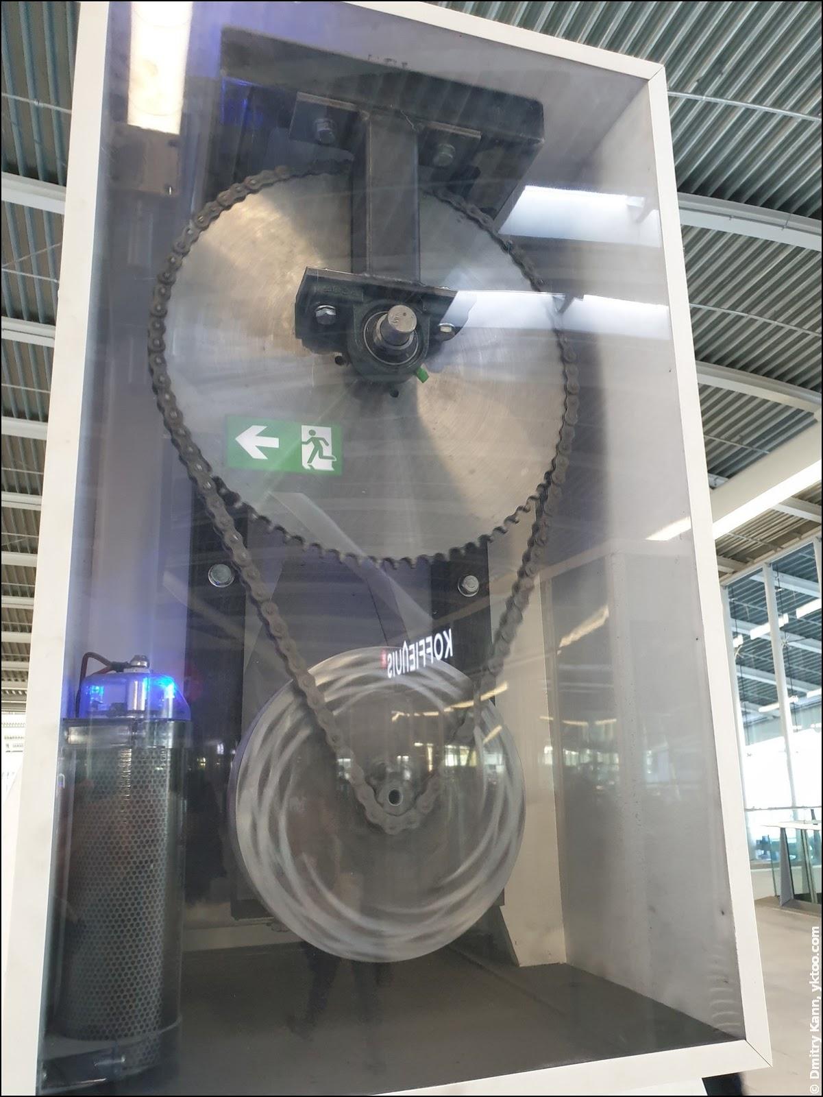 Chain-driven electric generator.