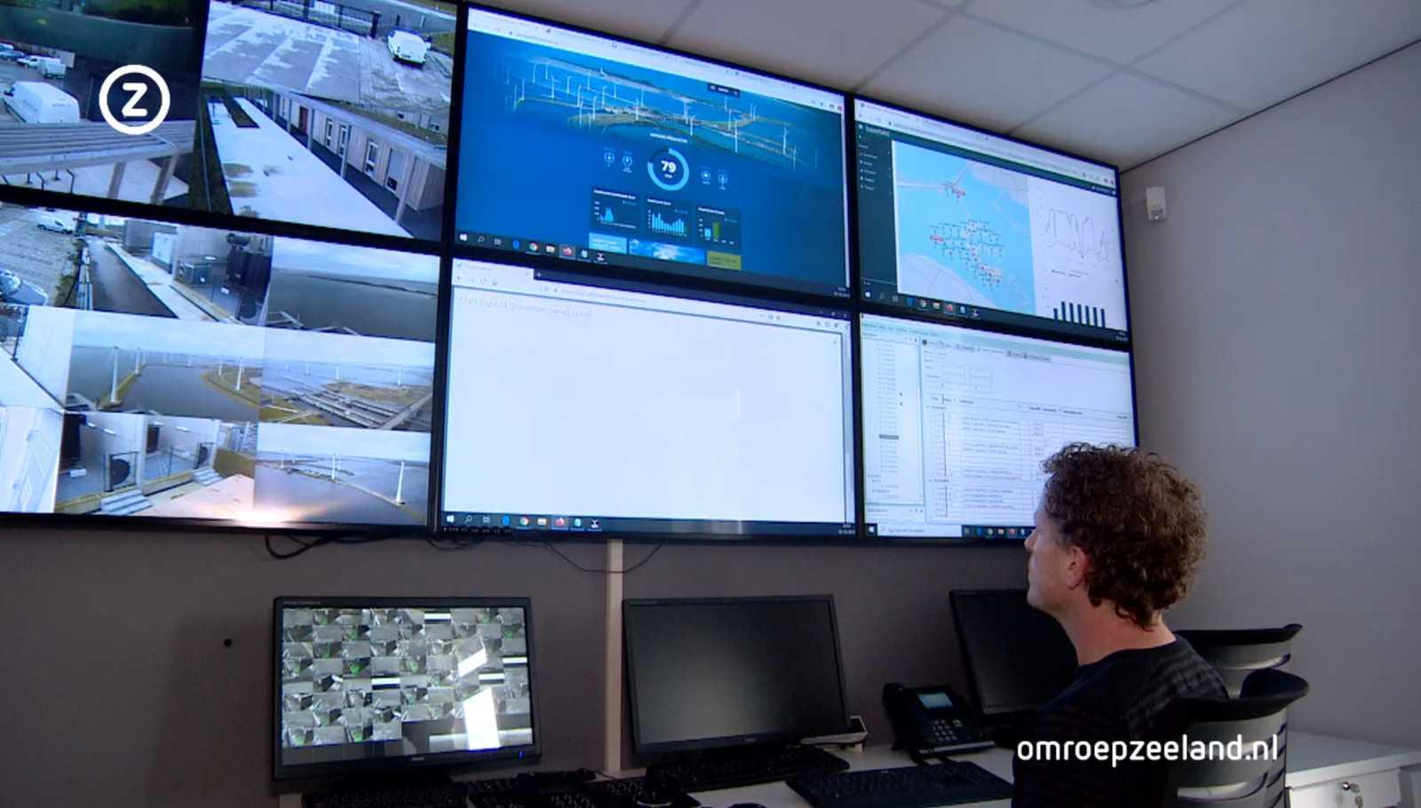 Диспетчерская ветроэлектростанции. Кадр из видео Omroep Zeeland.
