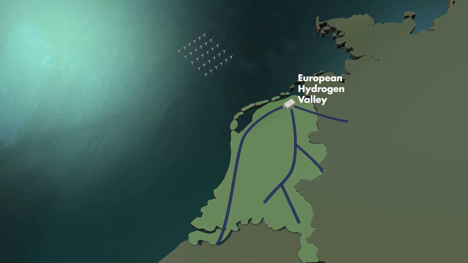 «Европейская водородная долина» на базе NortH₂. Кадр из видео проекта.