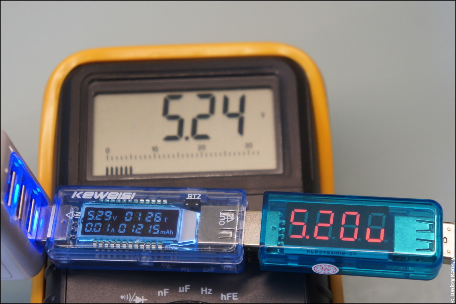 Voltage check with a multimeter.
