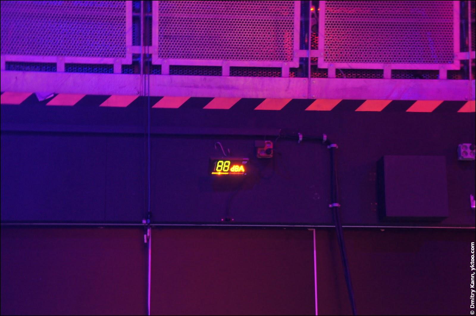 Измеритель звукового давления в клубе: 88 dBA.