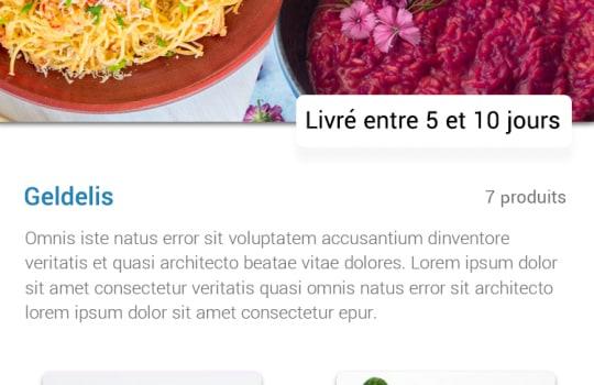 Gourming—La page de la liste de produits en vente privée