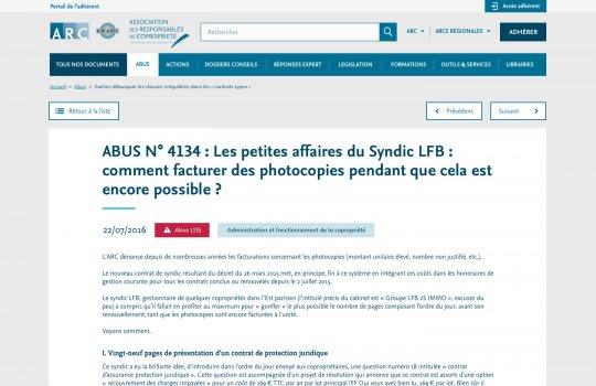 ARC–Page d'un document Abus