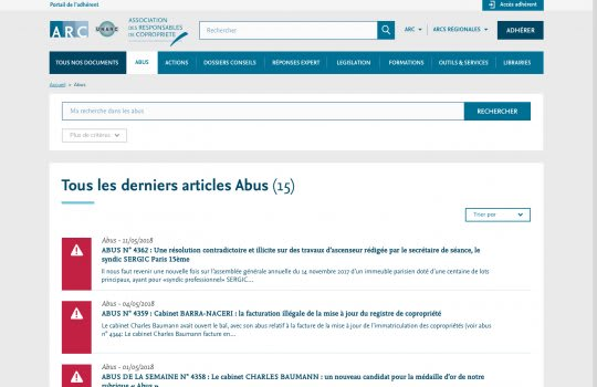 ARC – Page de la liste des documents Abus