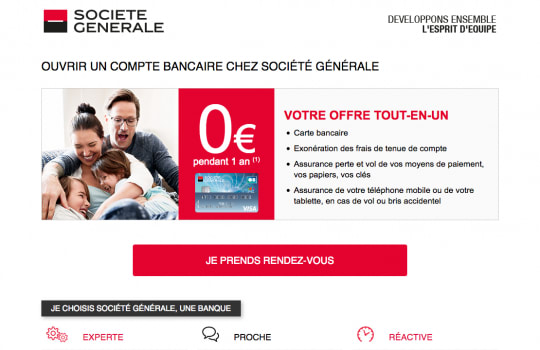 Société Générale — Landing page de l'offre d'ouverture de compte