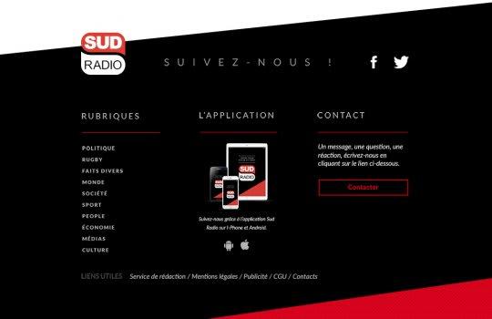 Sud Radio—Le pied de page du site