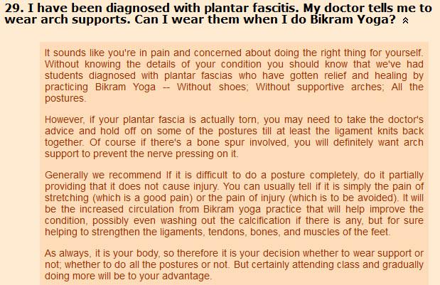 yoga question about Plantar Fasciitis