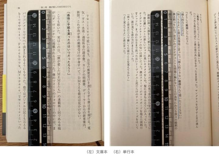 縦書き文庫本、単行本に定規で線を引く場合
