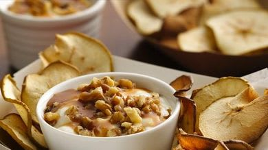 Apple Chips with Salted Caramel Yogurt Dip