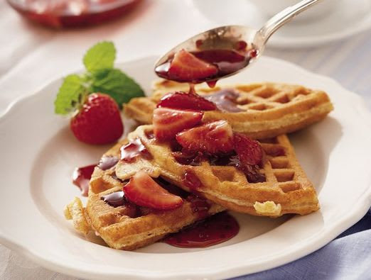 Granola Whole Wheat Waffles with Double Berry Sauce