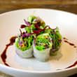 Vegetarian & crispy greens rice paper rolls