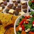 Savoury tart, slice & salad