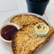 Sourdough toast with condiments