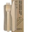 CUTLERY PACK FSC WOOD - KNIFE / FORK / NAPKIN BIOPAK (CT400)