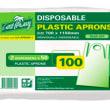 JNPA01 APRON DISPOSABLE PLASTIC WHITE 1150X700MM CASTAWAY (PK100)