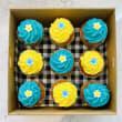 Blue & Yellow Flower Cupcakes